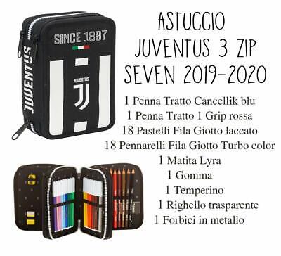 Astuccio Juventus Juve 3 ZIP Scuola PRODOTTO UFFICIALE 2019 / 2020 - SEVEN