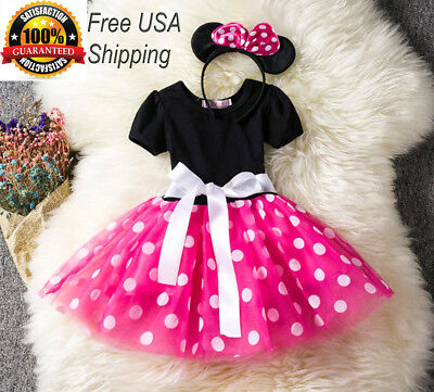 Girls Tutu Dress Princess Birthday Party Costume Minnie Mouse Headband PINK RED - Minnie Mouse Pink Dress
