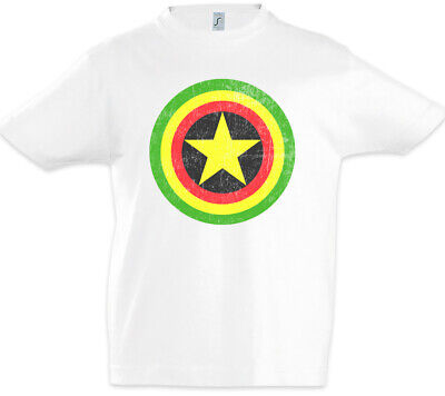 Captain Rasta Kinder Jungen T-Shirt Fun Comic Bob America Shield Reggae Irie ()