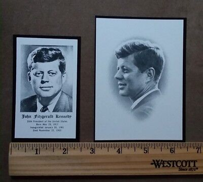 JFK 1963 ORIGINAL FUNERAL PRAYER CARDS (2) LARGE AND SMALL