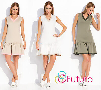 Tiered Fass (Womens Mini Tiered Dress V Neck Sleeveless Frilled Tunic Sizes 8-12 FA498)