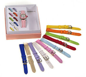 Ladies Girls Watch Gift Set 11 Multicolour Interchangeable Straps & Dial covers