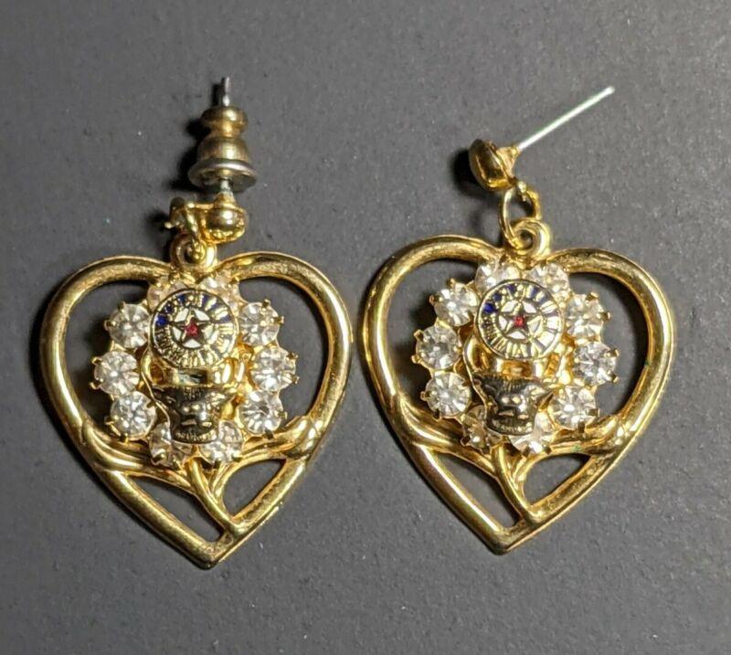Vintage The Elks Club Gold Tone Dangle Earrings