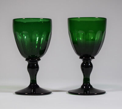 2 Antique English Green Glass Wine Glasses