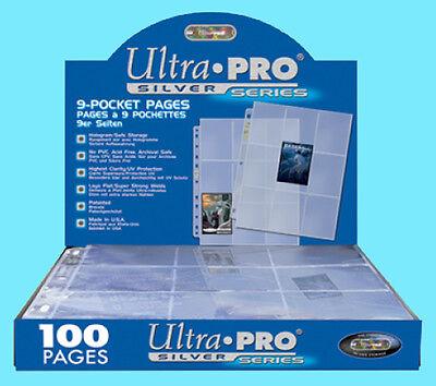 100 ULTRA PRO SILVER 9-POCKET Card Pages Sheets Binder baseball sport box coupon