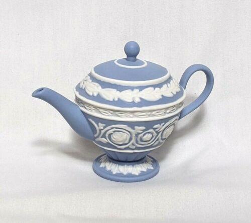 Wedgwood Blue Jasperware Miniature Teapot Christmas Ornament With Box