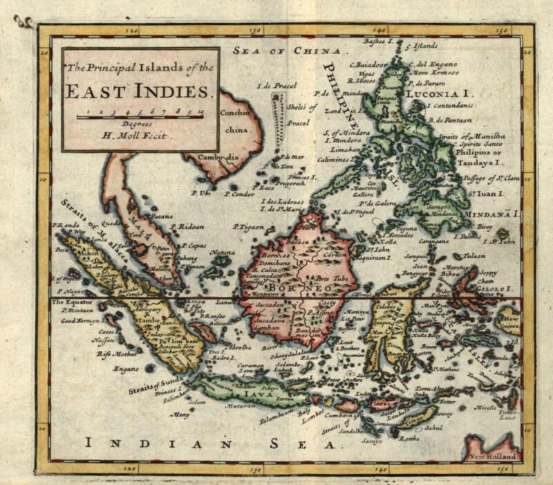 Indonesia Philippines Sumatra Java 1713 Moll miniature map beautiful hand color