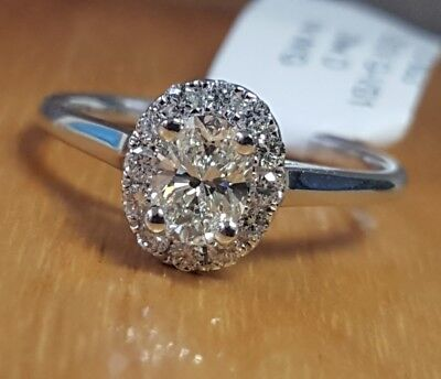 Natural OVAL Diamond G-VS1 GIA Halo 14k W Gold Engagement Ring .72 ctw Sz 6.5  6