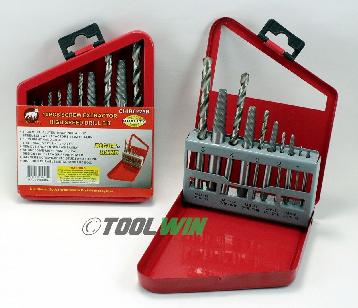 Neiko 10 PC Screw Extractor & Cobalt Drill Bit Set