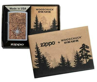 "Zippo Lighter  ""Woodchuck Compass- 2 sided wood emblem No 49055 New"