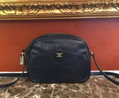 VINTAGE GUCCI NAVY BLUE CALF LEATHER DOME CROSSBODY SHOULDER BAG ITALY