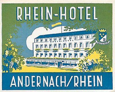 ANDERNACH GERMANY RHEIN HOTEL VINTAGE ART DECO LUGGAGE LABEL