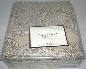Pottery-Barn-Bedskirt-Ivory-Margaret-Floral-King-Bed-Skirt-Brand-New