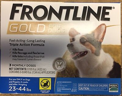 Merial Frontline Gold Flea and Ticks Dog 23-44 lbs Blue, 3 Monthly Doses