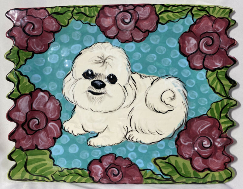 """OOAK Artist Signed ~ Bichon Frise Serving Tray 13"""" x 16"""" ~ Hand Painted"""