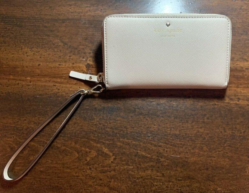 KATE SPADE Leather Zip Around Wristlet, Wallet, Tan-EUC