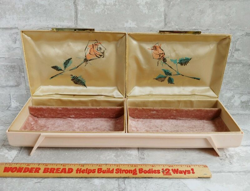 Vtg FARRINGTON 50s Pink Velvet Lined Satin Rose Mid Century Double Jewelry Box