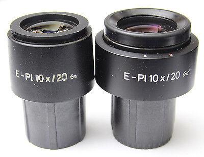 Pair Zeiss E Pl 10x 20 Glasses Microscope Eyepieces 30mm 444232 444231 E-pl