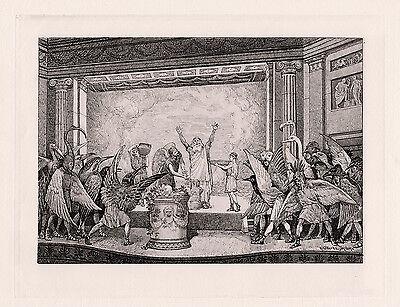 "Henry Gillard Glindoni 1800s Antique Print ""Birds of Aristophanes"" SIGNED COA"