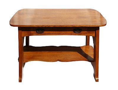 ANTIQUE ARTS CRAFTS MISSION OAK LIBRARY TABLE DESK CRAFTSMAN BUNGALOW FURNITURE Arts & Crafts Furniture