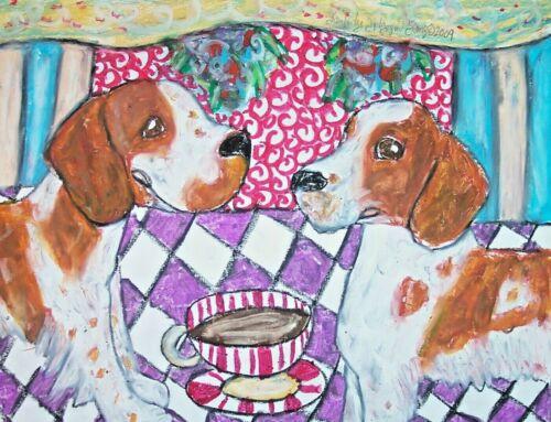 Welsh Springer Spaniel drinking Coffee Dog Art 11 x 14 Print