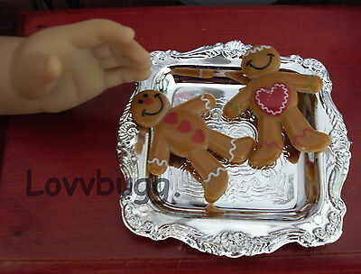 "Lovvbugg Gingerbread Men on Tray for 18"" American Girl Doll Food Accessory"