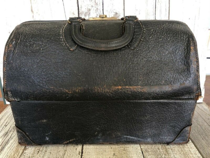 ANTIQUE DOCTORS MEDICAL BAG EMDEE SCHELL PATENT #2293363 Brown/Black Leather