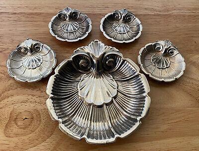 Vtg Lunt Silver-Plate 5pc Ornate Shell Nut Dish Set Scalloped Edge M29 M30 USA
