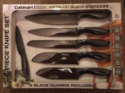 Cuisinart Classic 6-Piece Knife Set --- Brand New --- Metallic Black Stainless