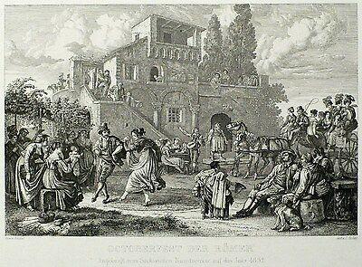 Radierung 1832 - LUDWIG RICHTER - Oktoberfest der Römer