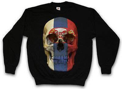 CLASSIC SERBIA SKULL FLAG PULLOVER Flagge Totenkopf Schädel Banner Fahne Serbien