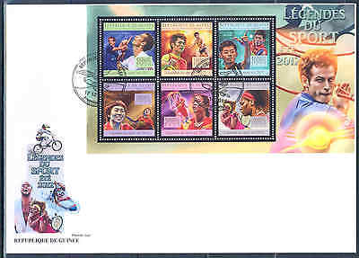 GUINEA 2012 SPORTS TENNIS PING PONG CHAMPIONS SHEET OF SIX STAMPS FDC