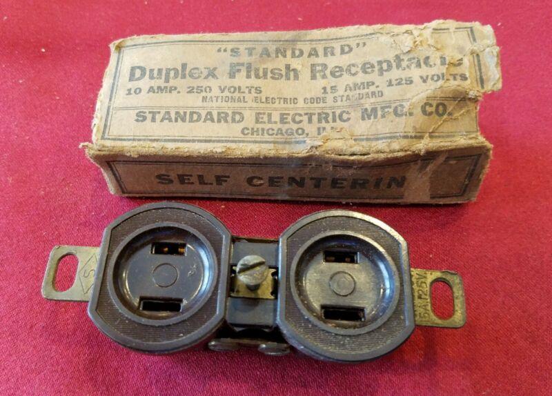 Vtg Standard Electric Bakelite Duplex Flush Receptacle Original Box Brown - B9E