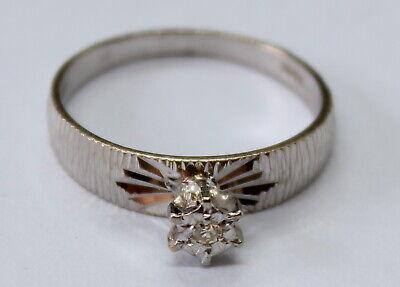 VINTAGE 18CT WHITE GOLD SINGLE DIAMOND RING SIZE P