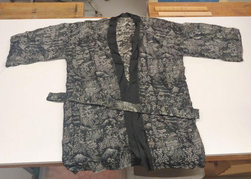 Vintage / Antique Asian Black Silk Embroidery Art Kimono Robe - Handmade