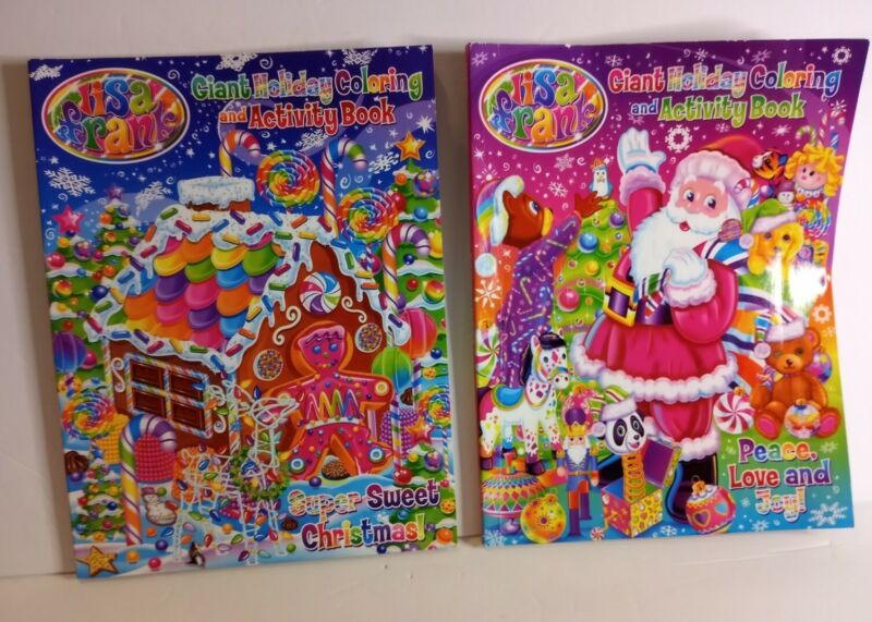 2 Lisa Frank Giant Holiday Coloring Activity Books Christmas Santa Gingerbread