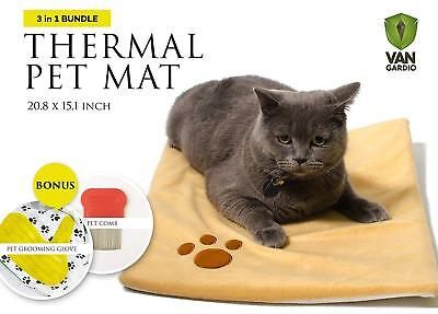 Thermal Mat - Self Warming Heating Pad for Pets Cat and Dog Bed - Grooming Glove