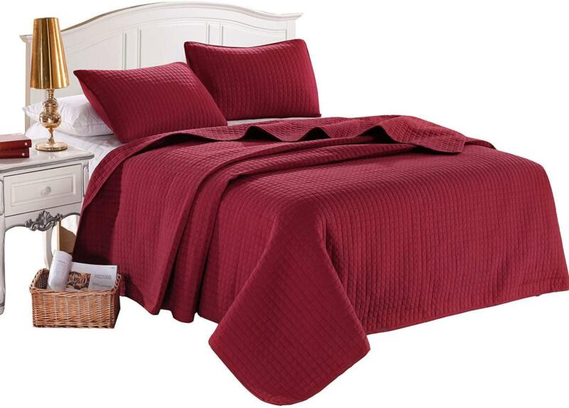 king burgundy solid color quilted bedspread coverlet