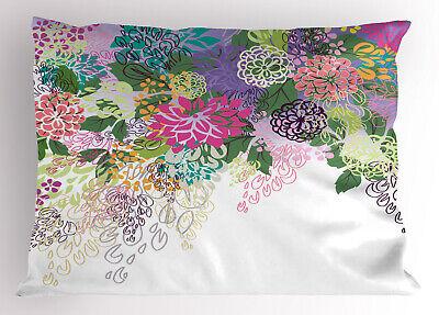 Flower Pillow Sham Vintage Boho Inspiration King Size Pillow