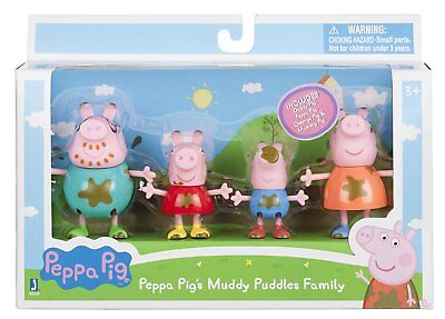 Peppa Pig Muddy Puddles Family Figures 4pc - Peppa Pig Family