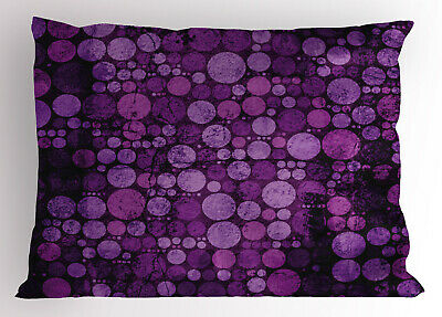 Purple Pillow Sham Vintage Grunge Circles Printed Pillowcase