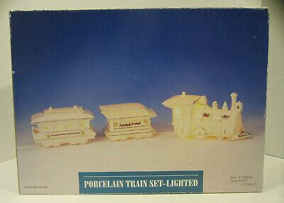 Porcelain Christmas Train Set Lighted Gift White Decor With Gold Painted Trim