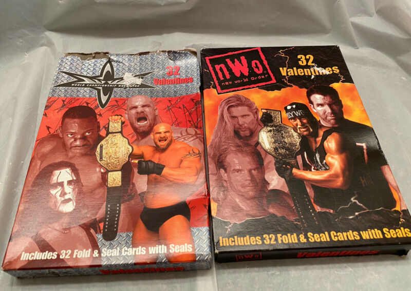WCW/NWO Valentines Cards Vintage 1999 In Box Sting Goldberg Booker T Lot Of 2