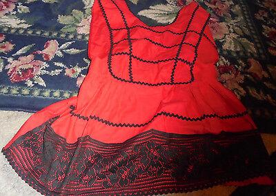Halloween theatre costume womens top red black ric rac apron top black - Red Racer Kostüm