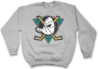 DUCKS HOCKEY SWEATSHIRT PULLOVER Symbol Sign Team The Mighty Logo Mask Bat Stick Hockey Logo Sweatshirt