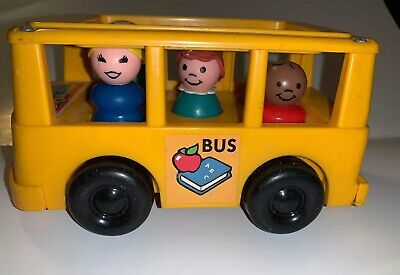 Vintage Fisher Price Little People Yellow MINI-BUS With 4 Figures - GREAT!