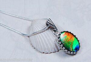 Genuine-Canadian-GRADE-AA-Ammolite-Jewelry-Pendant-925-Sterling-Silver-JVL2401