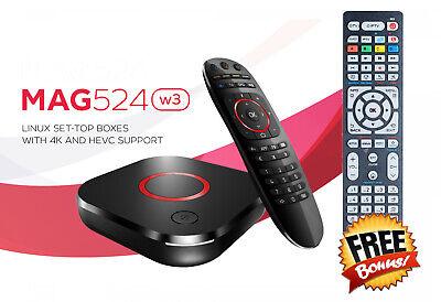 Mag524W3 600Mbps BuiltIn Dual Band WiFi 5G 4K linux 4K Free Bonus Remote Control