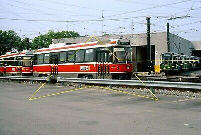 "MBTA Testing CLRV's ""UTDC"" TTC 4027-4031 Car Barn Bos  Original Kodachrome Slide"