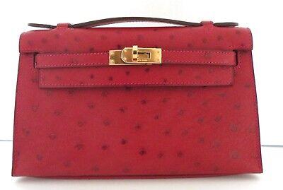 New Hermes Kelly Pochette Rouge Vif Red Ostrich Bag Gold Hardware 18yrs on eBay